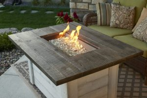 Outdoor GreatRoom Company's Alcott rectangular gas fire pit table, sold at Breakaway