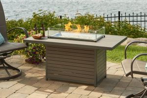 Outdoor GreatRoom Brooks Rectangular Gas Fire Pit Table, sold at Breakaway on Cape Cod