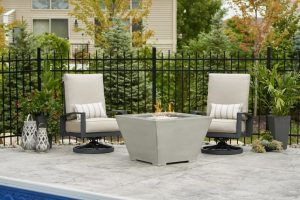 Outdoor GreatRoom Cove Square gas fire pit bowl, sold at Breakaway on Cape Cod