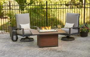 Outdoor GreatRoom Company Kenwood Rectangular Gas Fire Pit Table, sold at Breakaway on Cape Cod, MA