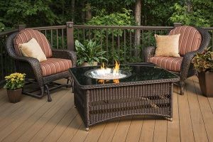 Outdoor GreatRoom Naples rectangular gas fire pit table from Breakaway on Cape Cod, MA