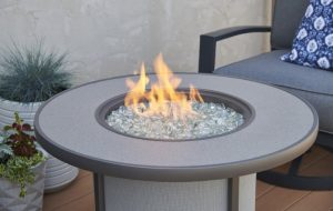 Outdoor GreatRoom Company Stonefire gas fire pit table, sold at Breakaway